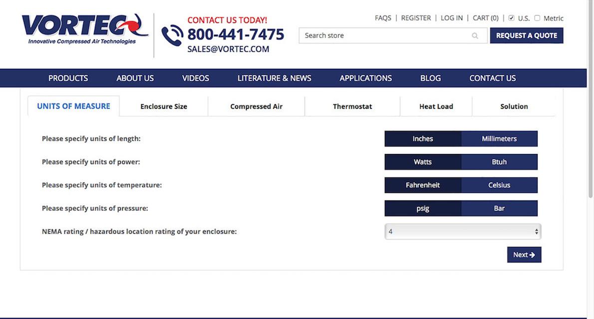Online heat load calculator determines enclosure cooling